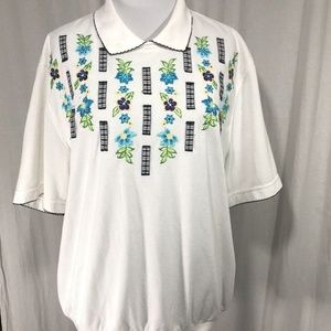 Alfred Dunner White Golf Shirt Flowers L